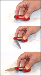 The Zipper Pocket Knife opens easily with one finger