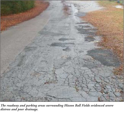 The roadway and parking areas surrounding Hixson Ball Fields evidenced severe distress and poor drainage.
