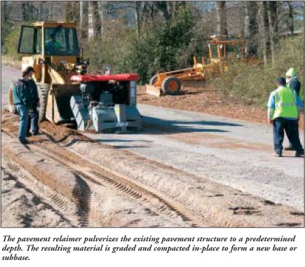 The pavement relaimer pulverizes the existing pavement structure to a predetermined depth. The resulting material is graded and compacted in-place to form a new base or subbase.